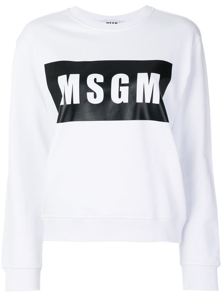 MSGM sweatshirt women white cotton sweater