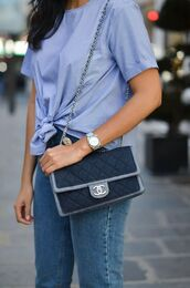 t-shirt,tumblr,blue top,bag,blue bag,chanel,chanel bag,jeans,denim,blue jeans,all blue,All blue outfit,tie-front top