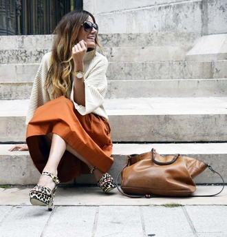 rebel attitude blogger rust midi skirt leopard print high heels brown leather bag