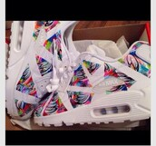 shoes,sneakers,air max,multicolor,white,yellow,red,blue,black,nike running shoes,air maxes floral,tennis shoes,hair accessory,white sneakers,nike air