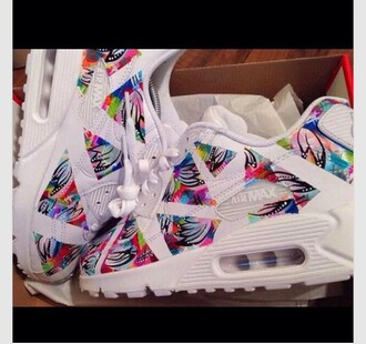 shoes sneakers air max multicolor white yellow red blue black