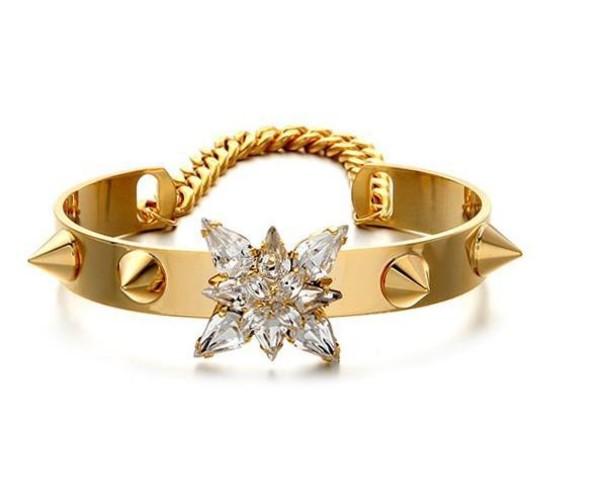 jewels flowers gold jewelry sparkle jewelry spikes crystal bracelets cuff jewelry fashion jewellery kendall jenner