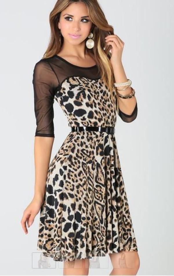 leopard print dress animal print dress belted dress black mesh mesh sleeves georgette dress www.ustrendy.com