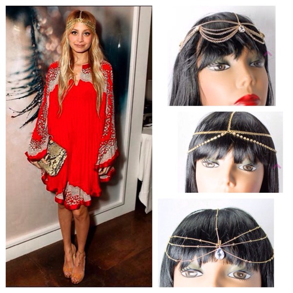 jewels nicole richie style hair accessory head jewels head jewels boho hippie