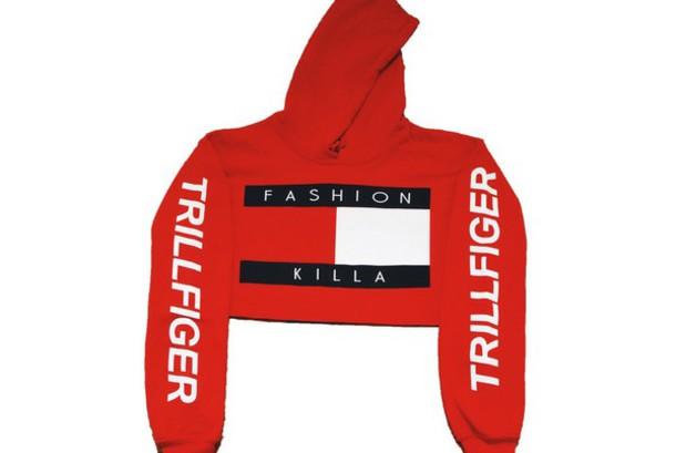 hat crop tops cropped hoodie tommy hilfiger crop top tommy hilfiger red tommy hilfiger sweater