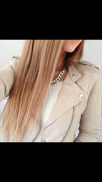 jacket perfecto leather jacket beige beige jacket knitwear top white top jewels jewelry gold necklace winter sweater winter jacket winter outfits
