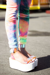 shoes,sandals,platform shoes,straps,white,summer,pants,clothes,leggings,tumblr clothes,colorful,tie dye,pink,yellow,blue,purple,neon,jeggings,skinny leg,neon pink,holographic,shiny,weird,fashion,jeans,fluo,multicolor,galaxy print,dope,kawaii,psychedelic,plastic,sandal heels,spring,rainbow