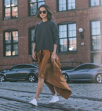 skirt asymmetrical skirt sweater sneakers sunglasses midi skirt streetstyle blogger jamie chung
