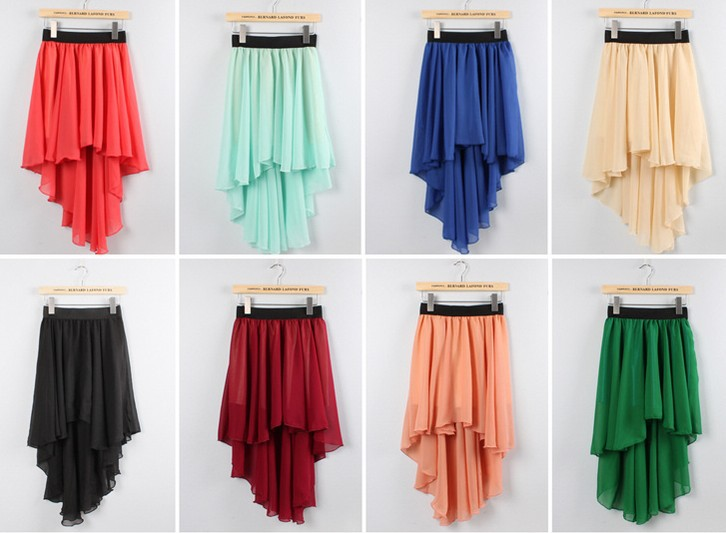 2014 Spring Women's High Waist cropped Chiffon Skirts Summer irregular asymmetrical Hem dovetail swallowtail Maxi Bohemia Grunge-inSkirts from Apparel & Accessories on Aliexpress.com