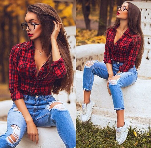red style country cute glasses jeans ripped jeans pants blouse shirt