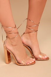 shoes,gold heels,gold,heels,lace up heels,block heels