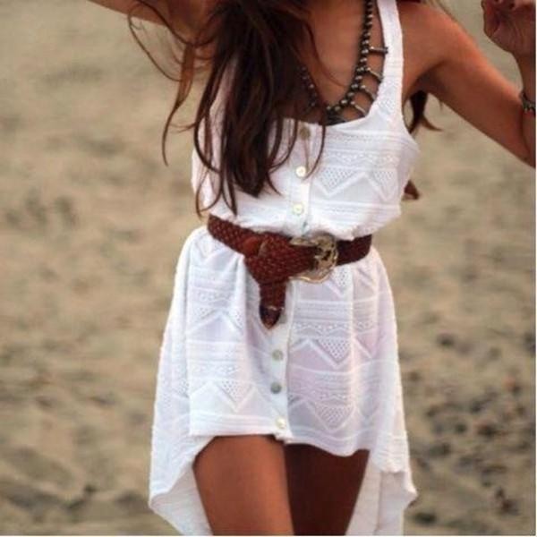 dress white summer aztec tribal pattern hi low dress white dress asymmetrical