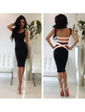 New boutique quontum black tight bodycon pencil backless open back midi dress