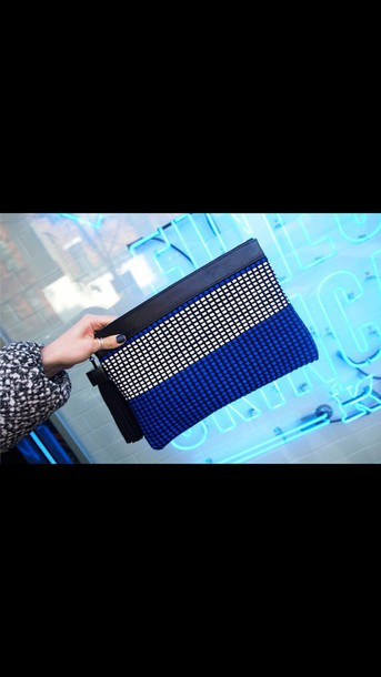 bag royal blue clutch handmade weaving tessle