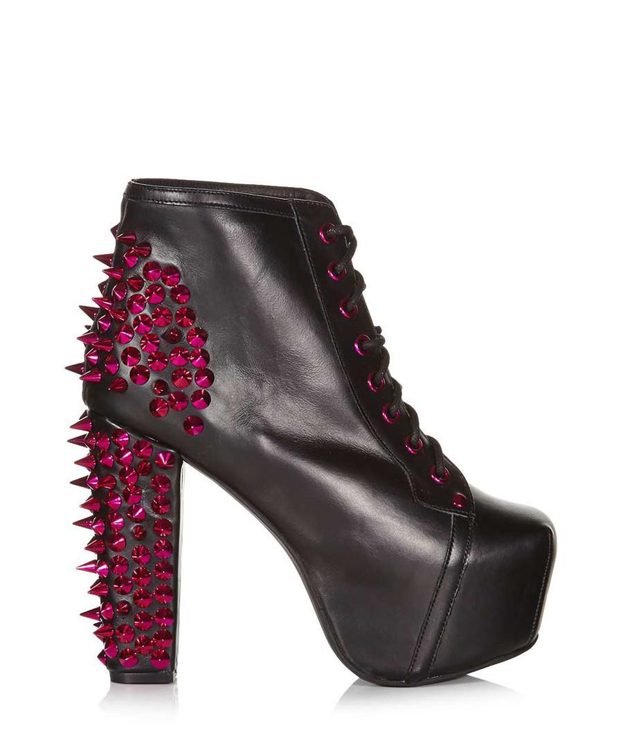 jeffrey campbell lita spike black leather boots designer footwear sale outlet secret sales. Black Bedroom Furniture Sets. Home Design Ideas