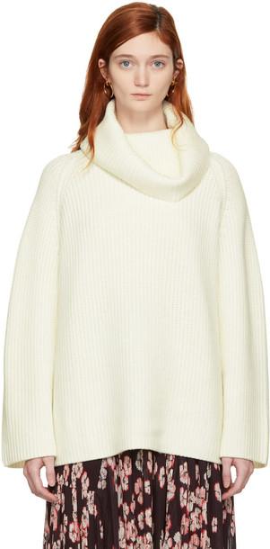 turtleneck oversized long white off-white sweater