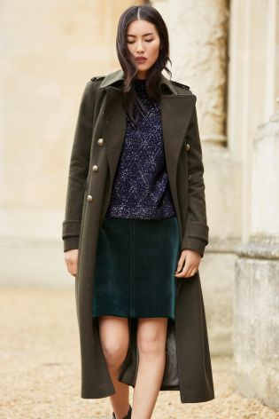 Khaki Military Coat from the Next UK online shop
