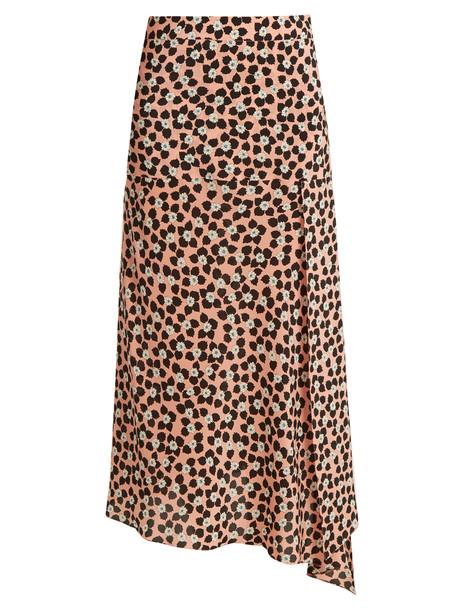 RAEY Slit-front Ditsy-print silk wrap skirt