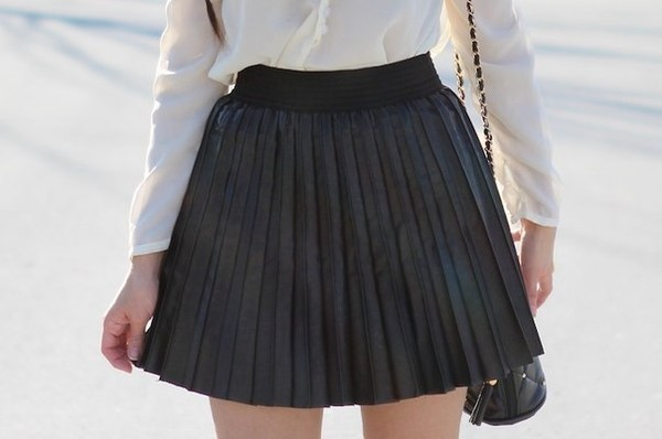 skirt black black skirt mini skirt pleated skirt