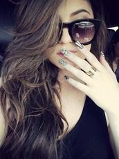 sunglasses,black,shades,dark,face,glasses,sun,kylie jenner