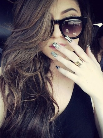 sunglasses black shades dark face glasses sun kylie jenner