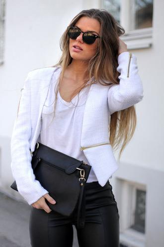 white jacket zip pants tweed blazer coat