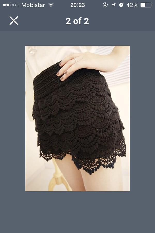 shorts black lace shorts