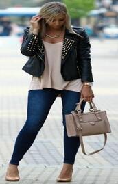jacket,leather jacker,spiked moto jacket