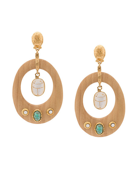 Gas Bijoux wood women embellished earrings gold brown jewels