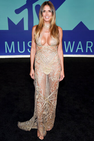 dress heidi klum gold gold dress vma mtv keyhole dress shoes gown prom dress prom gown see through sexy dress sparkly dress