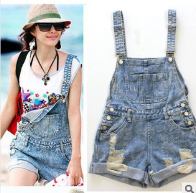 New Style rol up denim overall shorts for juniors bib pants Loose ...