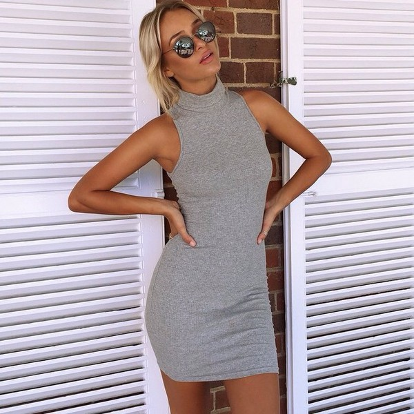 776b9b82a3af4 dress grey dress skivvy dress turtleneck mini mura boutique bag grey high  neck highneck kylie jenner.