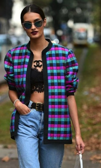 jacket bomber jacket patchwork plaid pattern check mosaic mosaic design milan streetstyle outfit square squares jacquard colorful multicolor