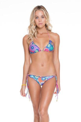 top bikini top blue print triangle bikiniluxe