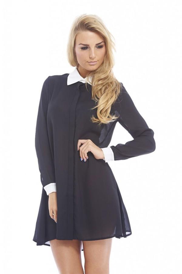 black and cream black dress mini dress blouse dress long sleeve dress black mini dress www.ustrendy.com