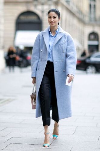 pants blue shirt light blue coat black trousers blue strap heels blogger