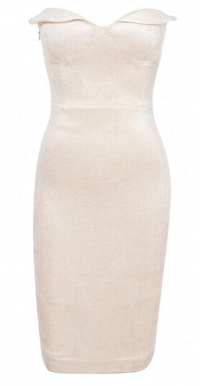 Sweetheart Bandeau Midi Dress White