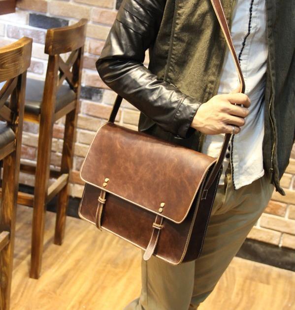 New 2014 men's briefcase simple genuine leather bag retro men messenger bags men's travel bags men shoulder bag brown