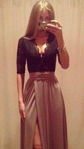 black and brown dress skirt dress dresses long dresses maxis lace dress maxi skirt black lace occasions formal classy