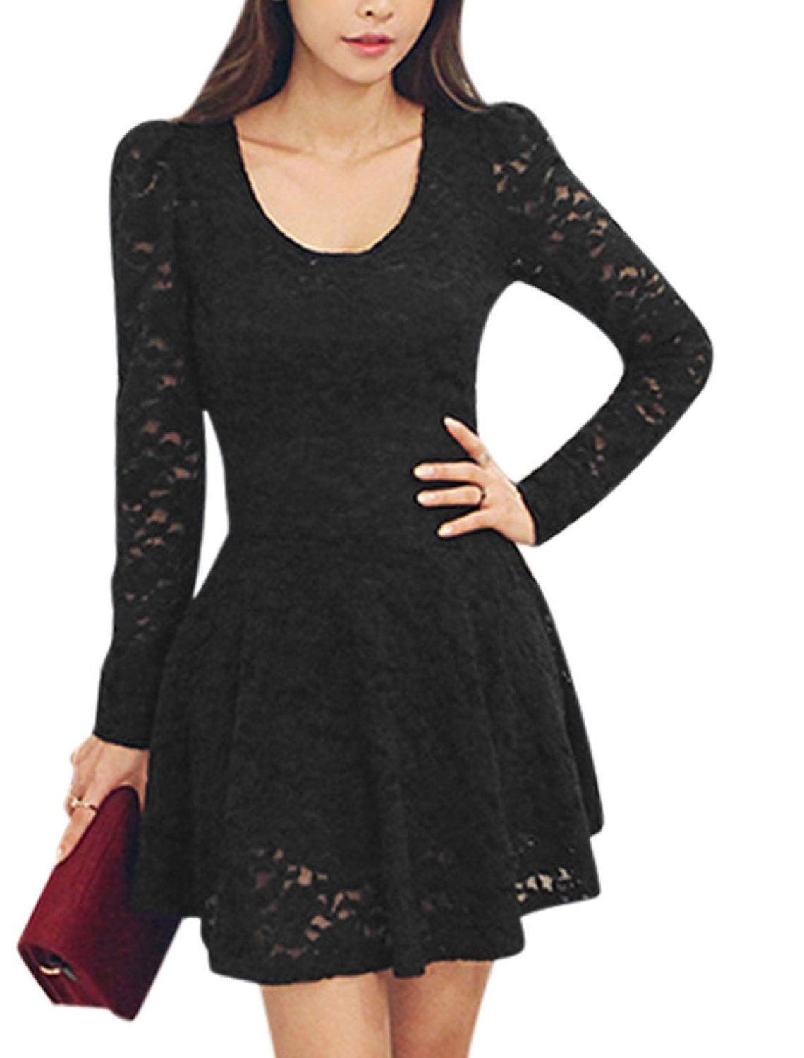 Scoop neck long sleeves casual lace skater dress for women at amazon women's clothing store: