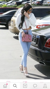 bag,kylie jenner,pink bag,shirt