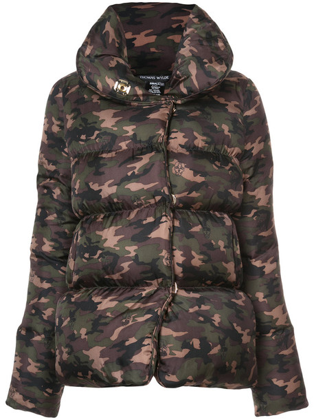 Thomas Wylde jacket women camouflage silk green