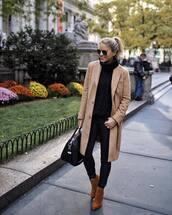 sweater,turtleneck sweater,knitwear,black sweater,jeans,skinny jeans,black jeans,ankle boots,suede boots,handbag,aviator sunglasses