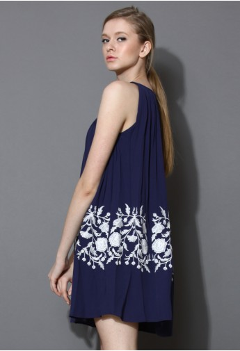 Ethereal Relaxed Embroidered Dress in Blue - Retro, Indie and Unique Fashion