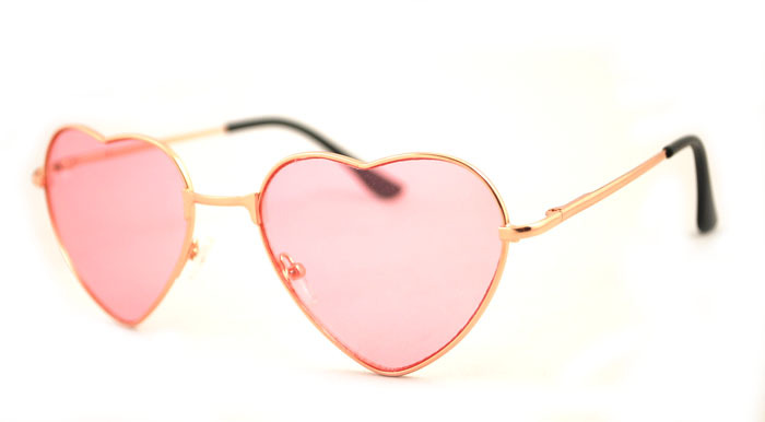 Cute Glasses Frames For Heart Shaped Faces : Free Shipping Cute Heart Shaped Golden frame pink lens ...