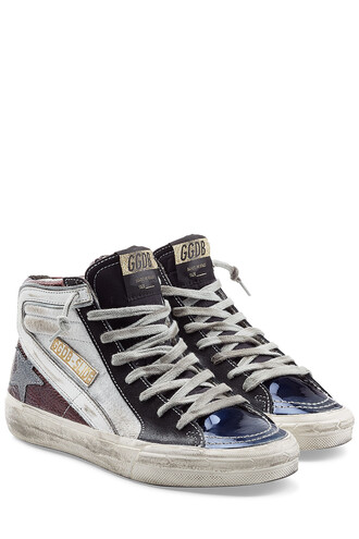 high sneakers leather multicolor shoes