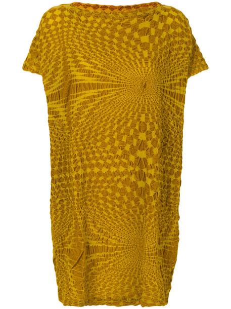Issey Miyake Cauliflower dress shirt dress t-shirt dress women cotton yellow orange