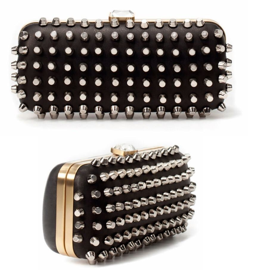 SOLD OUT Black Leather Silver Gold Clutch Studded Spike Fashion ...