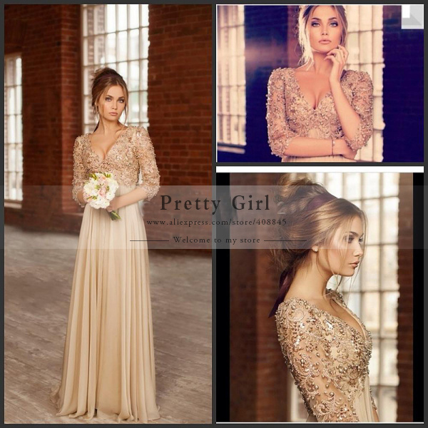 Aliexpress.com : buy 2015 luxury beading three quarter sleeve v neck long evening dresses free shipping vestidos empire plus size prom party dress from reliable party dress with long sleeves suppliers on pretty girl trade co., ltd
