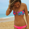 Swimwear: neon bikini bandeau swimsuit pink sweater neon pink bikini bandeau bag hot pink neon pink
